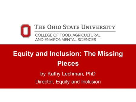 Equity and Inclusion: The Missing Pieces by Kathy Lechman, PhD Director, Equity and Inclusion.