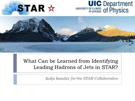 What Can be Learned from Identifying Leading Hadrons of Jets in STAR? Kolja Kauder for the STAR Collaboration.