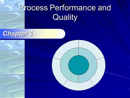 Process Performance and Quality Chapter 5 Ch.5 Agenda Definition of quality Quality costs TQM Employee Involvement Continuous improvement Control Charts.