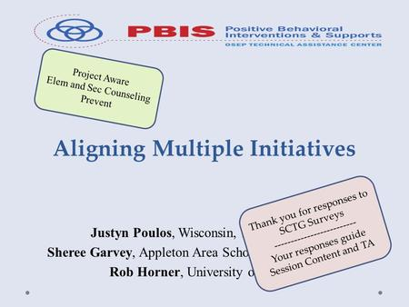 Aligning Multiple Initiatives Justyn Poulos, Wisconsin, PBIS Network Sheree Garvey, Appleton Area School District, Wisconsin Rob Horner, University of.
