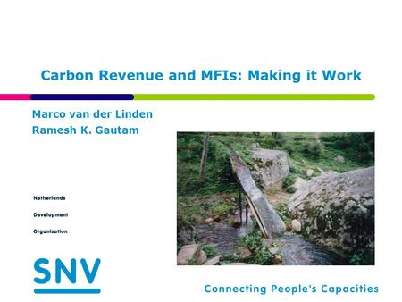 Carbon Revenue and MFIs: Making it Work Marco van der Linden Ramesh K. Gautam.