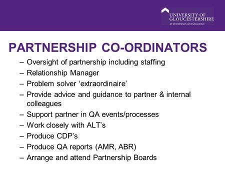 PARTNERSHIP CO-ORDINATORS –Oversight of partnership including staffing –Relationship Manager –Problem solver 'extraordinaire' –Provide advice and guidance.