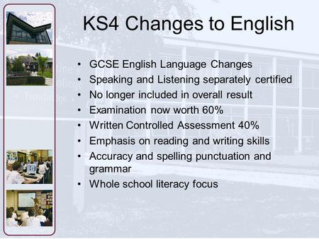 KS4 Changes to English GCSE English Language Changes Speaking and Listening separately certified No longer included in overall result Examination now worth.