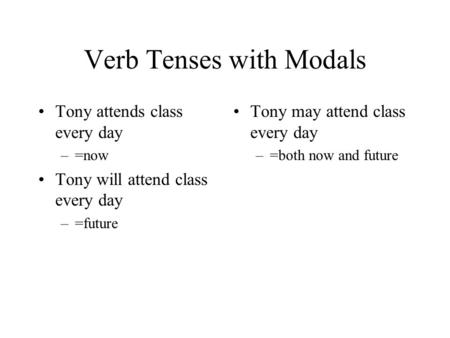 Verb Tenses with Modals Tony attends class every day –=now Tony will attend class every day –=future Tony may attend class every day –=both now and future.