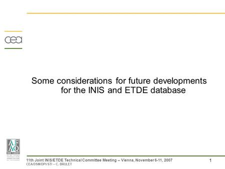 1 11th Joint INIS/ETDE Technical Committee Meeting – Vienna, November 6-11, 2007 CEA/DSM/DPI/STI – C. BRULET Some considerations for future developments.