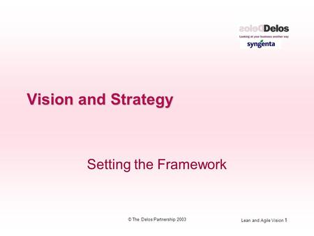 Lean and Agile Vision 1 © The Delos Partnership 2003 Vision and Strategy Setting the Framework.