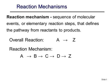 Reaction Mechanisms Overall Reaction: A → Z