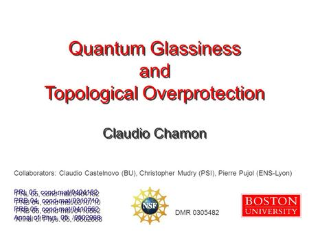 Quantum Glassiness and Topological Overprotection Quantum Glassiness and Topological Overprotection Claudio Chamon DMR 0305482 PRL 05, cond-mat/0404182.