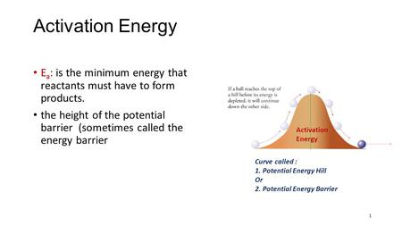 Activation Energy E a : is the minimum energy that reactants must have to form products. the height of the potential barrier (sometimes called the energy.
