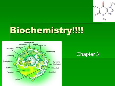 Biochemistry!!!! Chapter 3. Organic Chem.  Review –  What element is in most organic compounds?  CARBON  How many valence electrons does carbon have?