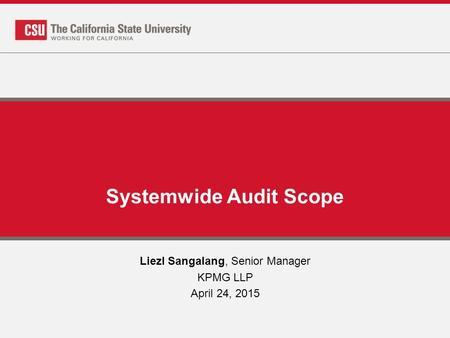 Systemwide Audit Scope Liezl Sangalang, Senior Manager KPMG LLP April 24, 2015.