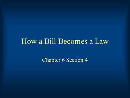 How a Bill Becomes a Law Chapter 6 Section 4. Key Terms Joint Resolution: A resolution that is passed by both houses of Congress Special-Interest Group: