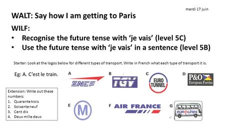 WALT: Say how I am getting to Paris. WALT: Say how I am getting to Paris WILF: Recognise the future tense with 'je vais' (level 5C) Use the future tense.