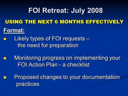 FOI Retreat: July 2008 USING THE NEXT 6 MONTHS EFFECTIVELY Format: USING THE NEXT 6 MONTHS EFFECTIVELY Format: Likely types of FOI requests – the need.