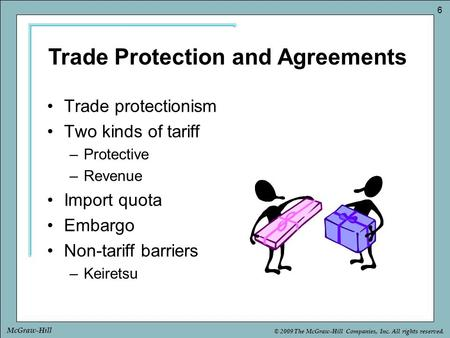 © 2009 The McGraw-Hill Companies, Inc. All rights reserved. 6 McGraw-Hill Trade protectionism Two kinds of tariff –Protective –Revenue Import quota Embargo.