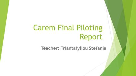 Carem Final Piloting Report Teacher: Triantafyllou Stefania.