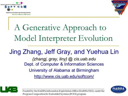 A Generative Approach to Model Interpreter Evolution Jing Zhang, Jeff Gray, and Yuehua Lin {zhangj, gray, cis.uab.edu Dept. of Computer & Information.