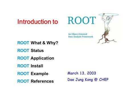ROOT What & Why? ROOT Status ROOT Application ROOT Install ROOT Example ROOT References Introduction to March 13, 2003 Dae Jung CHEP.