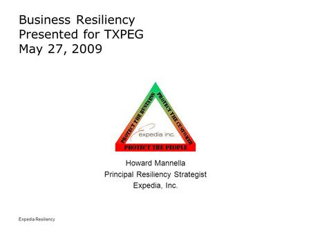 Expedia Resiliency Business Resiliency Presented for TXPEG May 27, 2009 Howard Mannella Principal Resiliency Strategist Expedia, Inc.