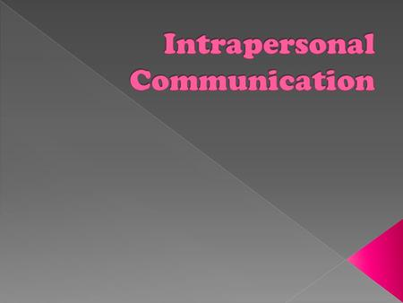 Language use or thought internal to the communicator. Basically, it is communication within yourself.