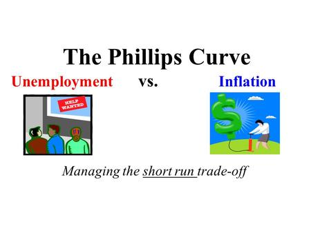 The Phillips Curve Unemployment vs. Inflation Managing the short run trade-off.