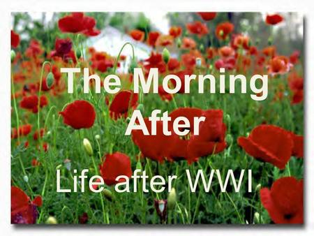 The Morning After Life after WWI.