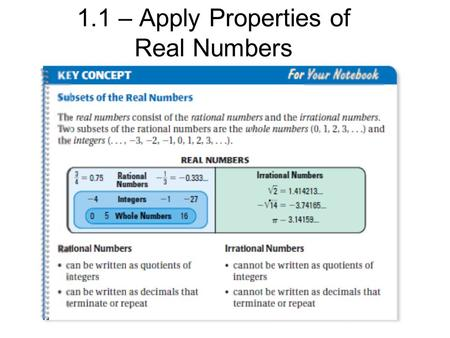 1.1 – Apply Properties of Real Numbers. Example 1: Graph the real numbers -5/4 and on a number line.