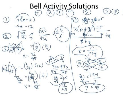 Bell Activity Solutions. E.O.C. Practice The Real Number System Graphic Organizer You will need: 1.Blank sheet of paper 2.Colored pencils 3.Black ink.