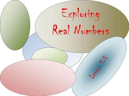 Exploring Real Numbers Lesson 1-3. Real Numbers Rational Numbers Integers Whole Numbers.