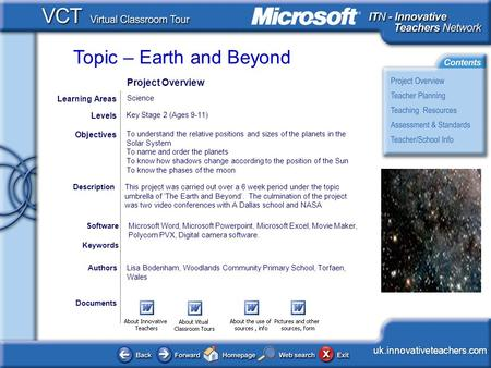 Topic – Earth and Beyond <This picture should illustrate the subject of your Classroom Learning Resource> uk.innovativeteachers.com Documents AuthorsLisa.