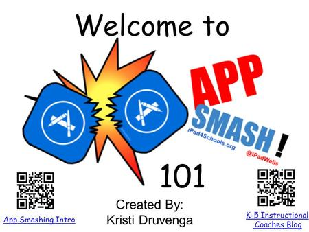 Welcome to 101 K-5 Instructional Coaches Blog App Smashing Intro Created By: Kristi Druvenga.