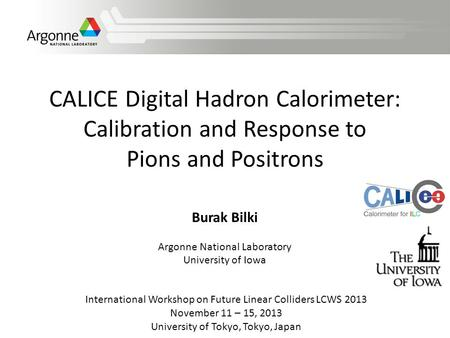 CALICE Digital Hadron Calorimeter: Calibration and Response to Pions and Positrons International Workshop on Future Linear Colliders LCWS 2013 November.