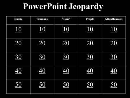 "PowerPoint Jeopardy RussiaGermany""Isms""PeopleMiscellaneous 10 20 30 40 50."