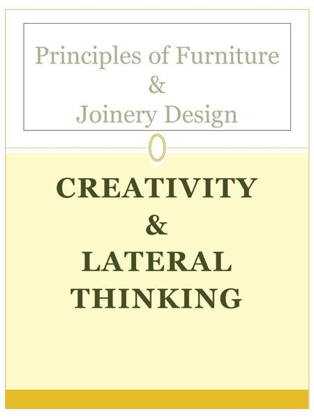 Principles of Furniture & Joinery Design