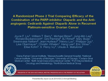 A Randomized Phase 2 Trial Comparing Efficacy of the Combination of the PARP-inhibitor Olaparib and the Anti-angiogenic Cediranib Against Olaparib Alone.