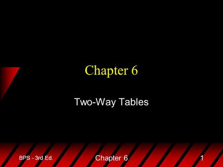 BPS - 3rd Ed. Chapter 61 Two-Way Tables. BPS - 3rd Ed. Chapter 62 u In this chapter we will study the relationship between two categorical variables (variables.