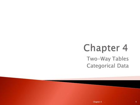 Two-Way Tables Categorical Data. Chapter 4 1.  In this chapter we will study the relationship between two categorical variables (variables whose values.