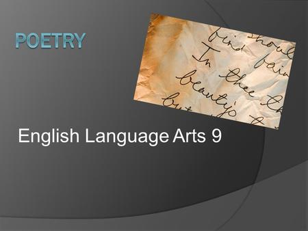 Poetry English Language Arts 9.
