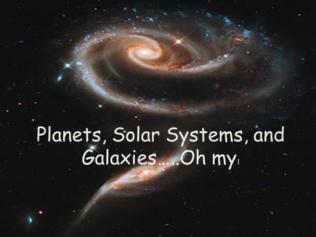 Planets, Solar Systems, and Galaxies…..Oh my !. Our Place in Space… What is Earth's address?