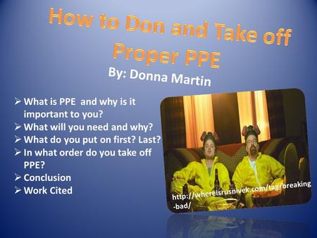 By: Donna Martin  What is PPE and why is it important to you?  What will you need and why?  What do you put on first? Last?  In what order do you take.