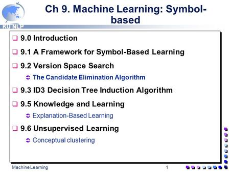 KU NLP Machine Learning1 Ch 9. Machine Learning: Symbol- based  9.0 Introduction  9.1 A Framework for Symbol-Based Learning  9.2 Version Space Search.