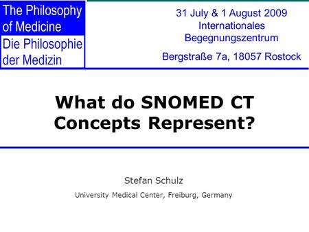 What do SNOMED CT Concepts Represent? Stefan Schulz University Medical Center, Freiburg, Germany 31 July & 1 August 2009 Internationales Begegnungszentrum.