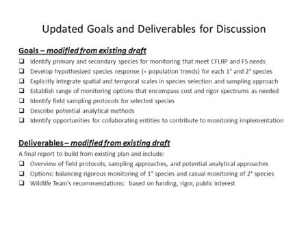 Updated Goals and Deliverables for Discussion Goals – modified from existing draft  Identify primary and secondary species for monitoring that meet CFLRP.