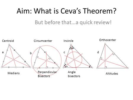 Aim: What is Ceva's Theorem? But before that…a quick review! a b cd IncircleCentroid Orthocenter Circumcenter Perpendicular Bisectors Angle bisectors Altitudes.