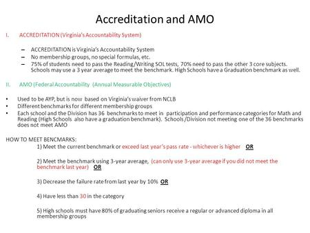 Accreditation and AMO I.ACCREDITATION (Virginia's Accountability System) – ACCREDITATION is Virginia's Accountability System – No membership groups, no.