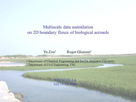 Multiscale data assimilation on 2D boundary fluxes of biological aerosols Yu Zou 1 Roger Ghanem 2 1 Department of Chemical Engineering and PACM, Princeton.