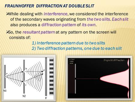 FRAUNHOFFER  DIFFRACTION AT DOUBLE SLIT