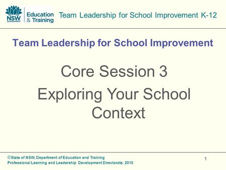 © State of NSW, Department of Education and Training Professional Learning and Leadership Development Directorate, 2010 Team Leadership for School Improvement.