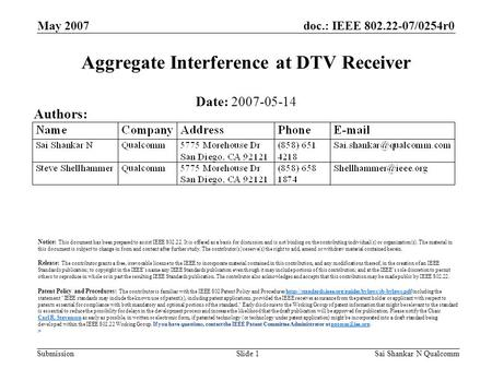 Doc.: IEEE 802.22-07/0254r0 Submission May 2007 Sai Shankar N QualcommSlide 1 Aggregate Interference at DTV Receiver Date: 2007-05-14 Authors: Notice: