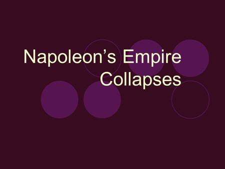 Napoleon's Empire Collapses. Vocabulary Blockade: a forcible closing of ports. Napoleon signed a decree ordering a blockade to prevent all trade and communication.